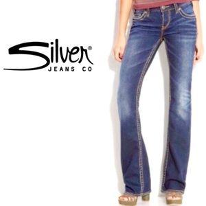 Silver Aiko Boot Cut Jeans Dark Wash Stretch